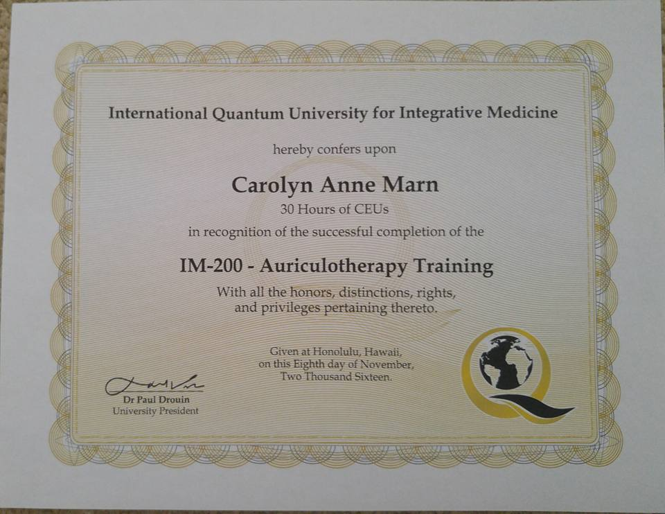 Auriculotherapy Training Certificate from Quantum University
