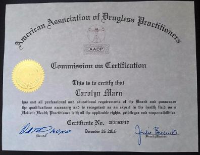Holistic Health Practitioner Certification by the American Association of Drugless Practitioners