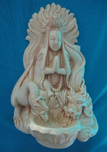 Statue Of Quan Yin with Dragon & Phoenix